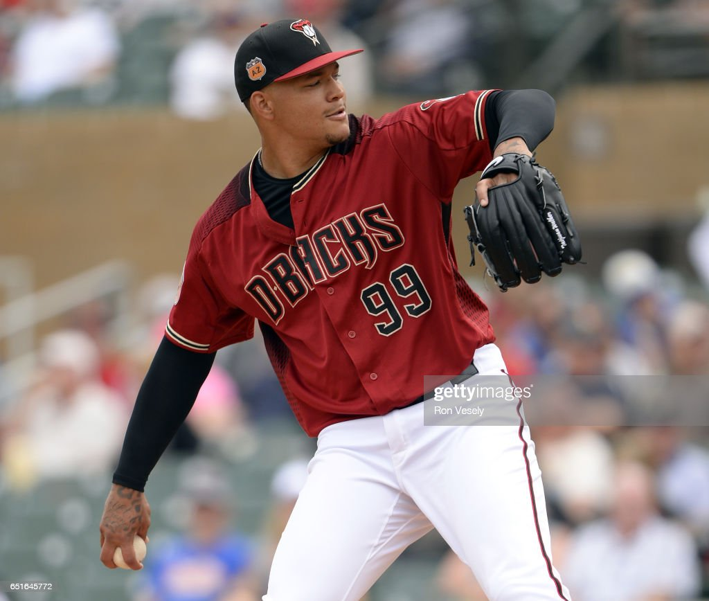Taijuan Walker #99 of the Arizona Diamondbacks pitches during the spring training game against the Chicago White Sox on March 5, 2017 at Salt River Fields at Talking Stick in Scottsdale, Arizona.