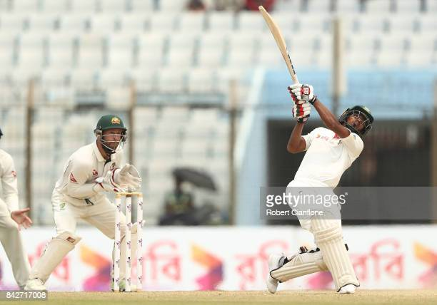 Taijul Islam of Bangladesh bats during day two of the Second Test match between Bangladesh and Australia at Zahur Ahmed Chowdhury Stadium on...