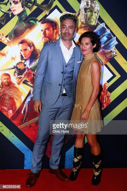 Taika Waitit and Chelsea Winstanly arrive for the Thor Ragnarok Australian Premiere at Event Cinemas Robina on October 13 2017 in Gold Coast Australia