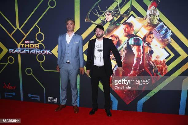 Taika Waititi and Brad Winderbaum arrive for the Thor Ragnarok Australian Premiere at Event Cinemas Robina on October 13 2017 in Gold Coast Australia