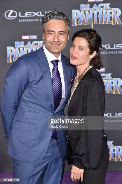 Taika Waititi and Chelsea Winstanley attend the Premiere Of Disney And Marvel's 'Black Panther' Arrivals on January 29 2018 in Hollywood California