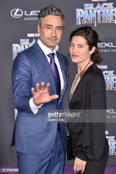 Taika Waititi and Chelsea Winstanley attend the Premiere Of Disney And Marvel's Black Panther Arrivals on January 29 2018 in Hollywood California