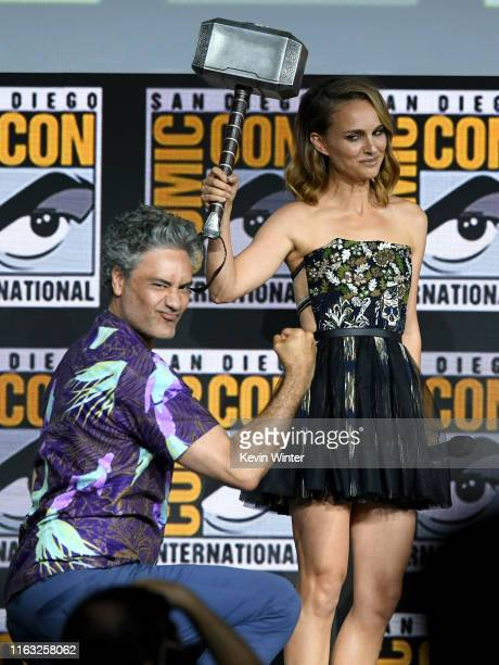 Taika Waititi and Natalie Portman speak at the Marvel Studios Panel during 2019 Comic-Con International at San Diego Convention Center on July 20,...