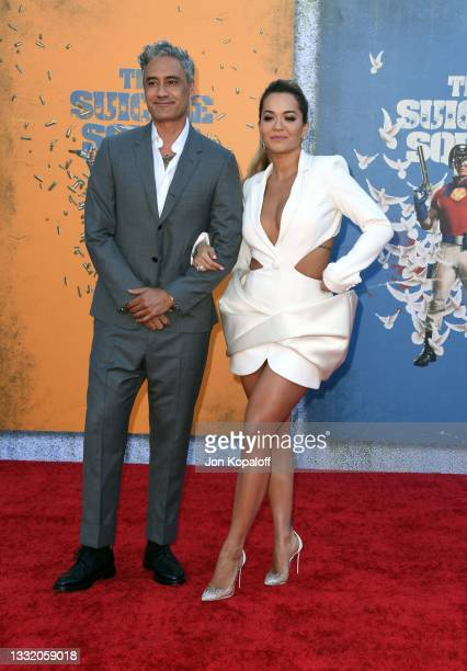 """Taika Waititi and Rita Ora attend the Warner Bros. Premiere of """"The Suicide Squad"""" at Regency Village Theatre on August 02, 2021 in Los Angeles,..."""