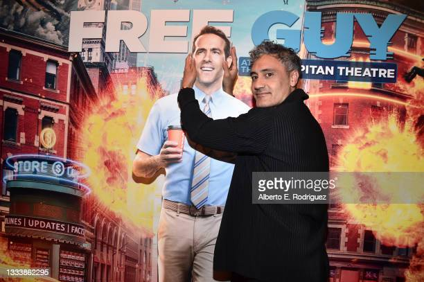 """Taika Waititi attends the """"Free Guy"""" Opening Night Fan Event at El Capitan Theatre on August 12, 2021 in Los Angeles, California."""