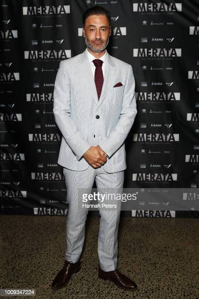 Taika Waititi attends the world premiere of Merata How Mum Decolonised the Screen at ASB Waterfront Theatre on August 2 2018 in Auckland New Zealand
