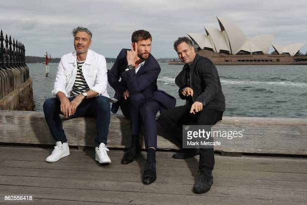 Taika Waititi Chris Hemsworth and Mark Ruffalo pose during a photo call for Thor Ragnarok on October 15 2017 in Sydney Australia