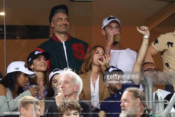 Taika Waititi, Chris Hemsworth, Sabrina Elba, Elsa Pataky, Isla Fisher and Russell Crowe watch the round three NRL match between the South Sydney...