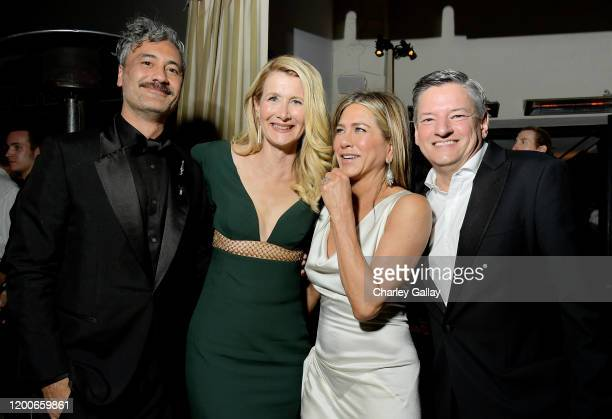 Taika Waititi, Laura Dern, Jennifer Aniston and Chief Content Officer at Netflix Ted Sarandos attend 2020 Netflix SAG After Party at Sunset Tower on...