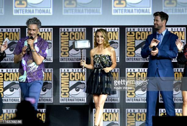 Taika Waititi, Natalie Portman and Chris Hemsworth speak at the Marvel Studios Panel during 2019 Comic-Con International at San Diego Convention...