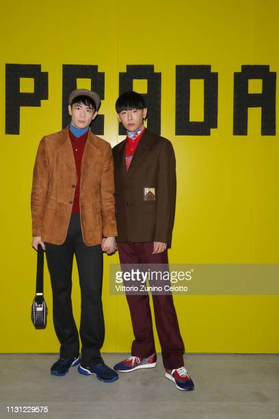 Taiki and Noah attend the Prada Show during Milan Fashion Week Fall/Winter 2019/20 on February 21, 2019 in Milan, Italy.