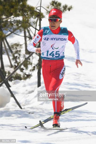 Taiki Kawayoke of Japan competes in the CrossCountry Men's 15km Sprint Classic Standing Semifinal on day five of the PyeongChang 2018 Paralympic...