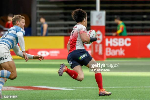 Taiki Koyama of Japan eludes Santiago Mare of Argentina to score during Game Argentina 7s vs Japan 7s in Pool D matchup at the Canada Sevens on March...