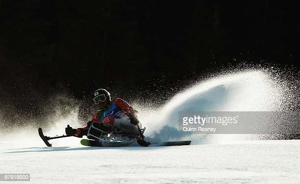 Taiki Morii of Japan competes during the Men's Sitting Super Combined SuperG during Day 9 of the 2010 Vancouver Winter Paralympics at Whistler...