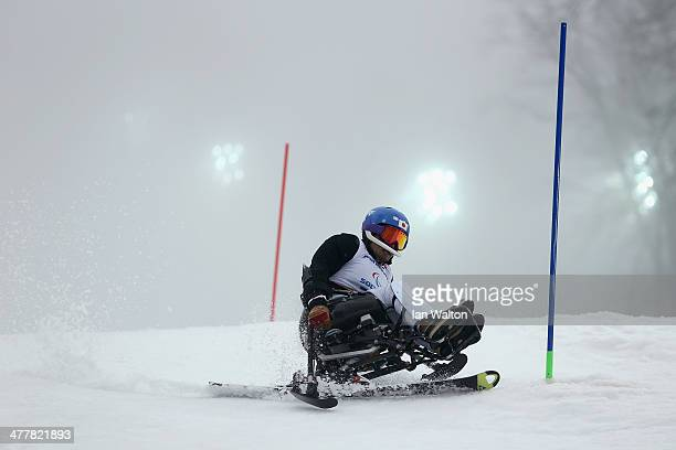 Taiki Morii of Japan competes in the Men's SC Slalom Run 1 Sitting during day four of Sochi 2014 Paralympic Winter Games at Rosa Khutor Alpine Center...