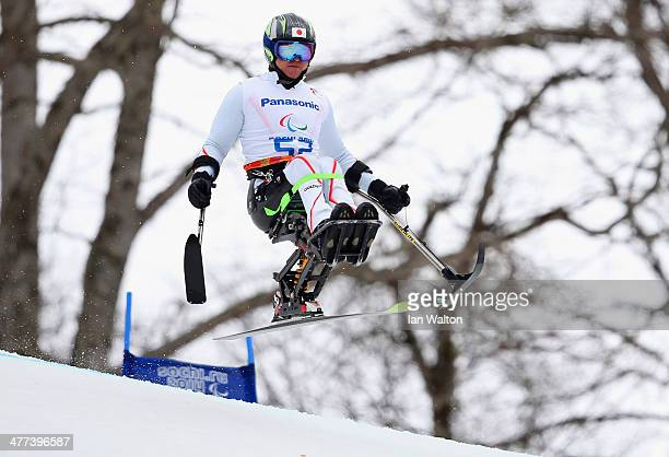 Taiki Morii of Japan competes in the Men's Super G sitting during day two of Sochi 2014 Paralympic Winter Games at Rosa Khutor Alpine Center on March...