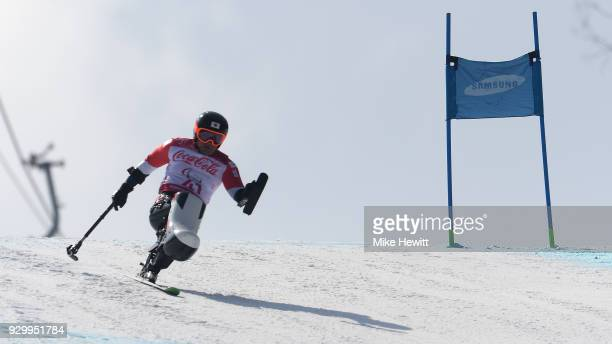 Taiki Morii of Japan in action in the Men's Downhill Sitting during day one of the PyeongChang 2018 Paralympic Games on March 10 2018 in...