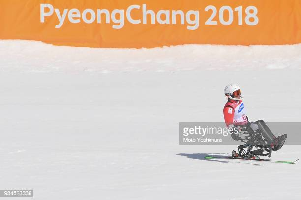 Taiki Morii of Japan reacts after competing in the Alpine Skiing Men's Slalom Sitting on day eight of the PyeongChang 2018 Paralympic Games on March...