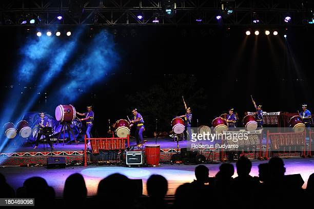 Taiko of Japan performs in World Drum Festival as part of Lake Toba Festival 2013 on September 13 2013 in Medan Sumatra Indonesia Lake Toba Festival...