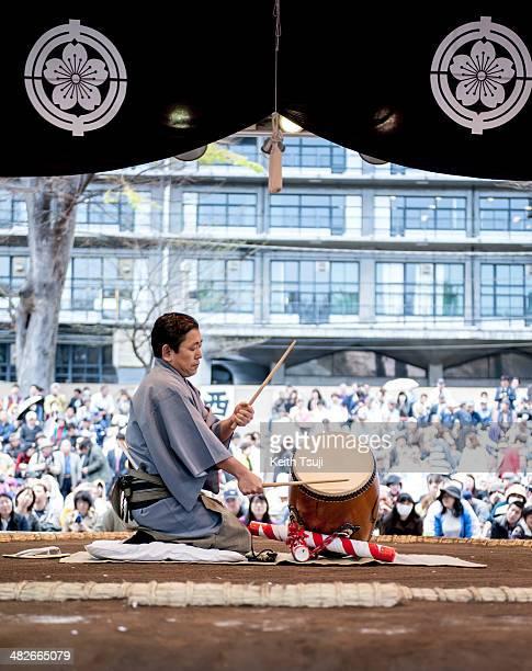 Taiko performance during the Ceremonial Sumo Tournament or Honozumo at the Yasukuni Shrine on April 4 2014 in Tokyo Japan