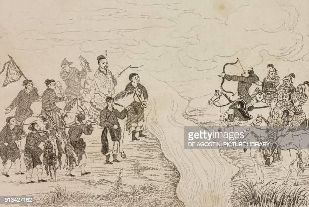 Taikung the ghost of Hunting China engraving from Chine ou Description historique geographique et litteraire de ce vaste empire d'apres des documents...