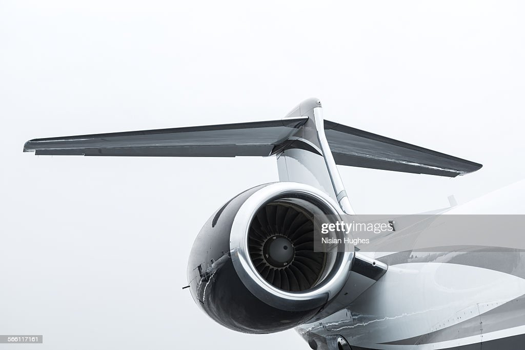 Tail and turbine engine of private jet : ストックフォト