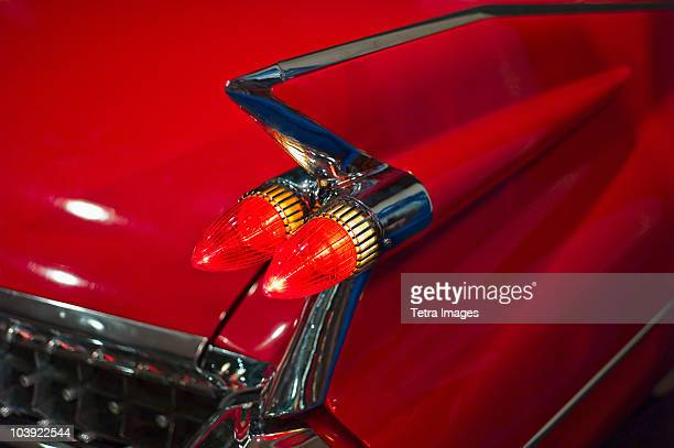 tail fin on a 1959 red automobile - 1950 1959 stock pictures, royalty-free photos & images