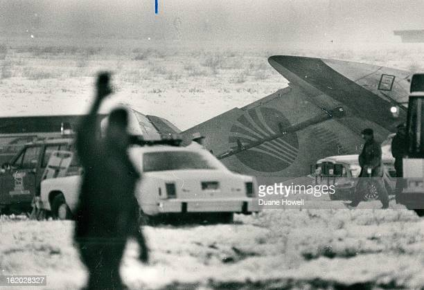 111987 Tail section of downed Airliner Credit The Denver Post Continental Airlines crash at Stapleton Airport occurred on Flight 1713 crashed during...