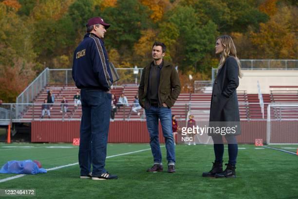 "Tail Spin"" Episode 304 -- Pictured: Shaun O'Hagan as Terry Hannity, Matt Long as Zeke Landon, Melissa Roxburgh as Michaela Stone --"