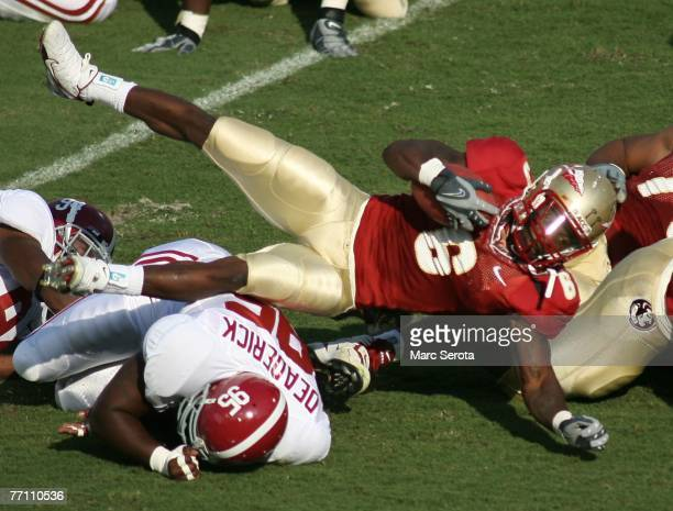 Tailback Antone Smith of the Florida State Seminoles is tackled during his teams 21-14 victory against the University of Alabama September 29, 2007...