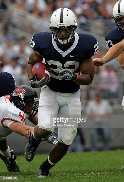 Tailback Evan Royster of the Penn State Nittany Lions runs the ball against the Oregon State Beavers at Beaver Stadium on September 6 2008 in State...