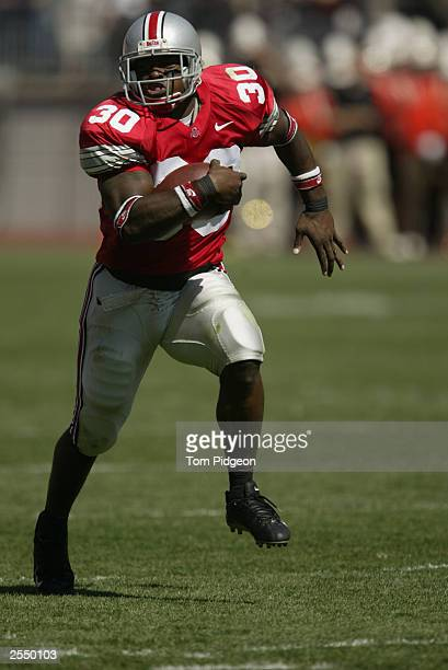 Tailback Lydell Ross of the Ohio State University Buckeyes carries the ball against the Bowling Green State University Falcons at Ohio Stadium on...