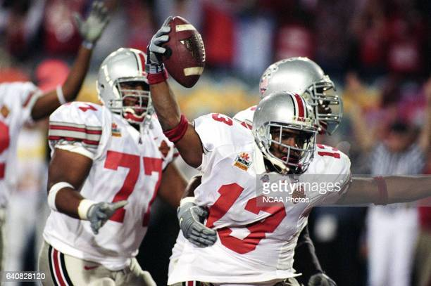 Tailback Maurice Clarett of Ohio State University scores the winning touchdown against Miami University during the National Championship Fiesta Bowl...