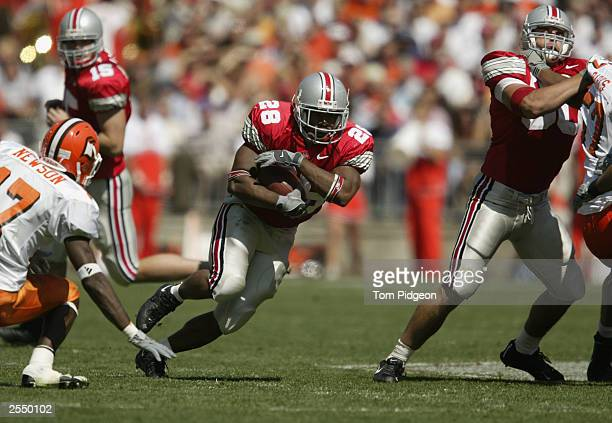 Tailback Maurice Hall of the Ohio State University Buckeyes carries the ball against the Bowling Green State University Falcons at Ohio Stadium on...