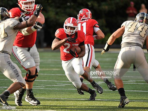 Tailback Nick Chubb of the Georgia Bulldogs rushes against the Vanderbilt Commodores during the second half at Vanderbilt Stadium on September 12...