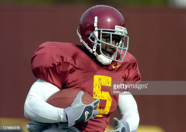 Tailback Reggie Bush during spring football practice at Howard Jones Field on the campus of the University of Southern California in Los Angeles,...