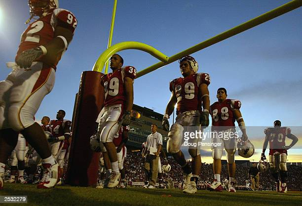 Tailback Sammy Maldonado of the University of Maryland Terrapins leaves the field after the game against the Citadel Bulldogs during NCAA football...