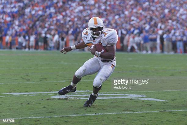 Tailback Travis Stephens of the University of Tennessee Volunteers carries the ball against the University of Florida Gators during the SEC game at...