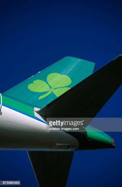 tailfin and horizontalstabiliser of an Aer Lingus Airbus A321200 on finalapproach
