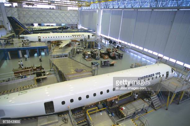 tailfin horizontalstabiliser and fuselage barrels on the Embraer 170 factory productionline