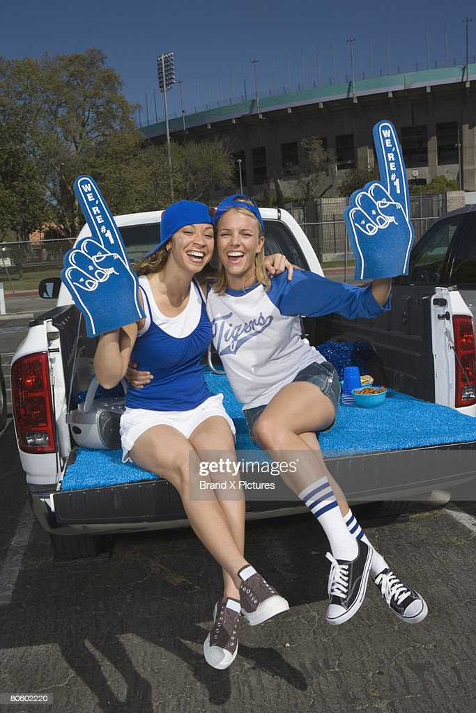 Tailgating women fans : Stock Photo