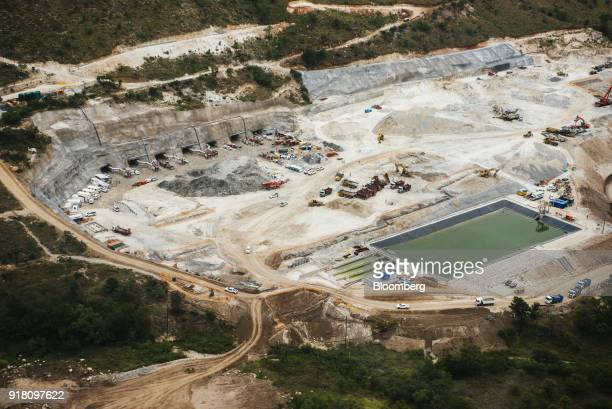 A tailings dam for mining byproduct storage sits in a quarry at the Northam Platinum Ltd Booysendal platinum mine outside the town of Lydenburg in...