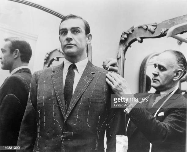 Tailor Anthony Sinclair fitting Scottish actor Sean Connery for one of the suits he will wear in the film 'From Russia With Love' Mayfair London 1963