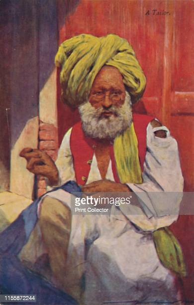 A Tailor' circa 1920s Indian man with beard and turban sewing with needle and thread From India by Flora A Steel [A C Black Ltd London circa 1920s]...