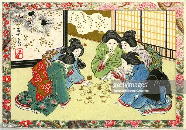 A tailor trade card shows five Japanese women wearing traditional kimonos by the Shirokiya dress company Tokyo late 19th century The women play a...