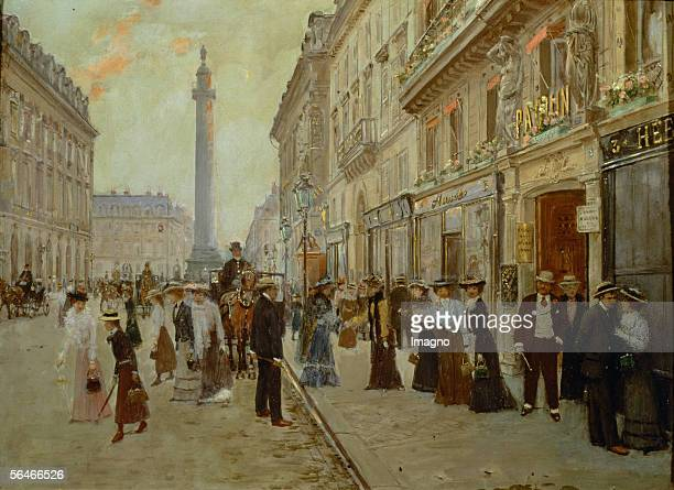 Tailoresses leaving their place of employment at the Maison de Mode Paquin in Paris Painting 19th century [Schneiderinnen verlassen ihren...
