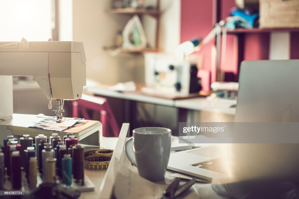 Tailoring Tools With Laptop : Stock Photo