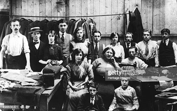Tailoring workshop in Manchester c1910 Group of Jewish workers in a tailor's shop