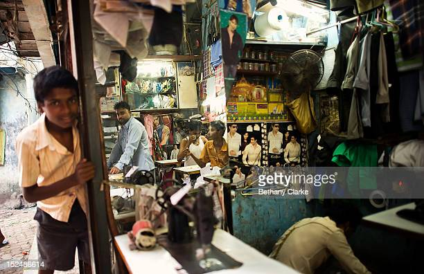 A tailor's shop in Dharavi November 4 2011 in Mumbai India Dharavi Asia's largest slum situated in the centre of Mumbai One million people live and...
