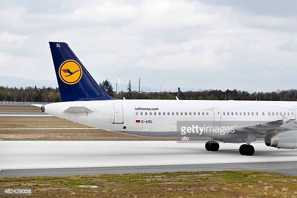 tailpiece of a lufthansa airbus - airplane tail stock pictures, royalty-free photos & images